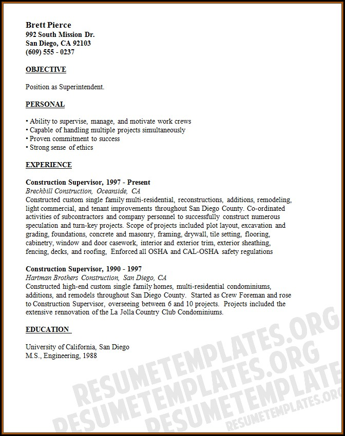 Free Construction Resume Builder