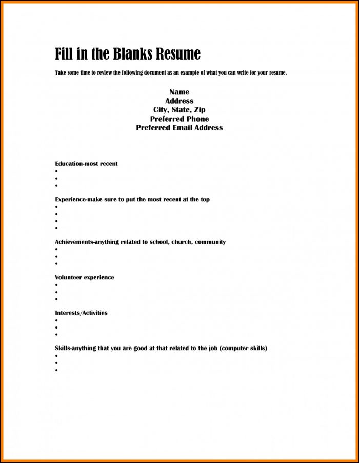 Free Fill In Resume Template Pdf