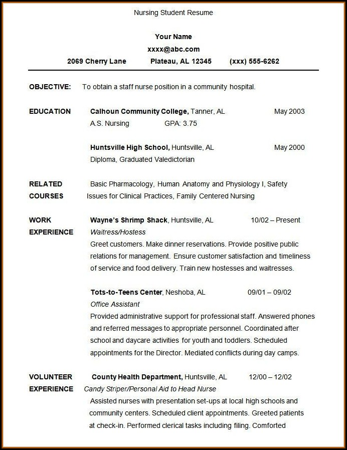 Free Resume Templates For Student