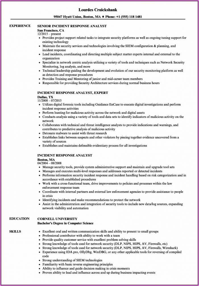 Incident Management Resume Sample India