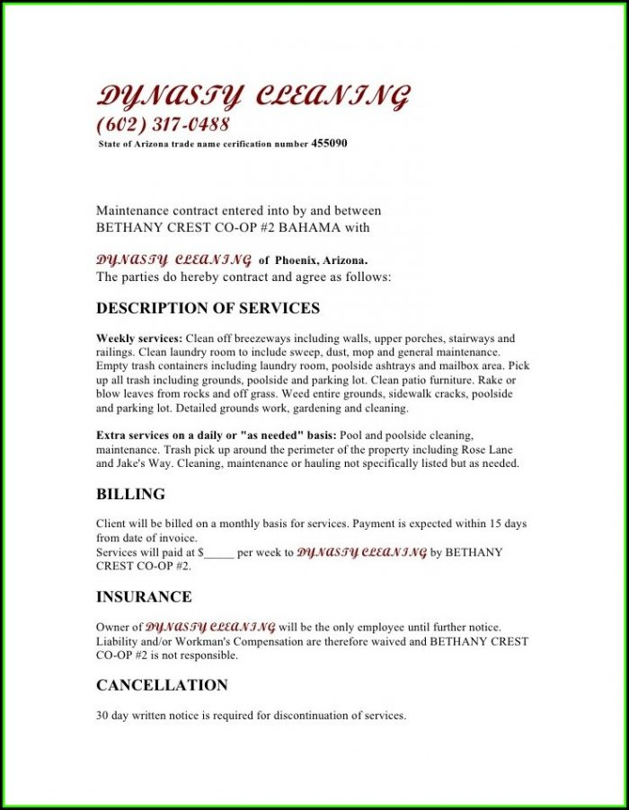 Janitorial Contract Example