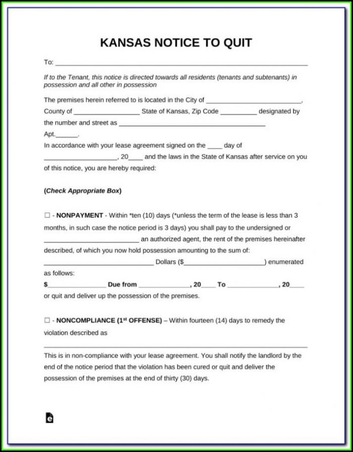 Kansas Eviction Notice Form Free