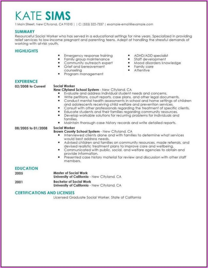 Lcsw Resume Template