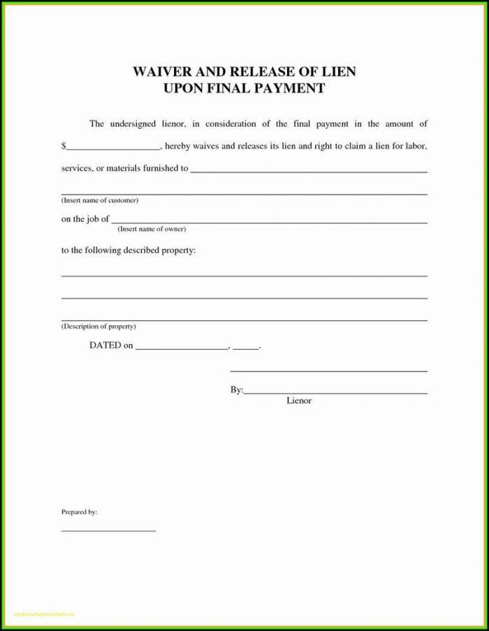 Lien Release Form Texas