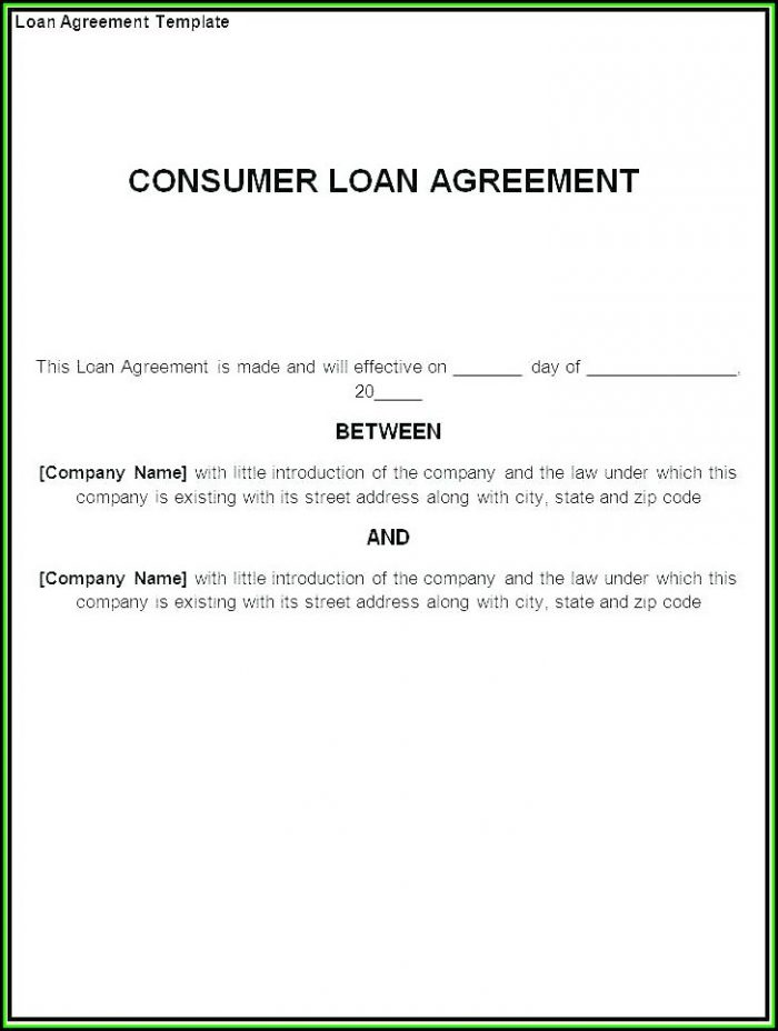 Loan Agreement Form Example