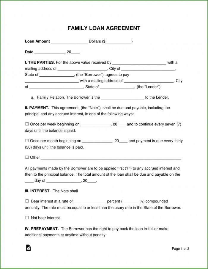 Loan Agreement Sample In Word Format