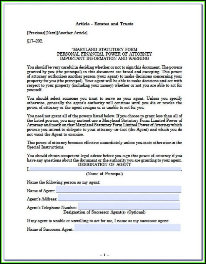 Maryland Durable Power Of Attorney Form Free Printable