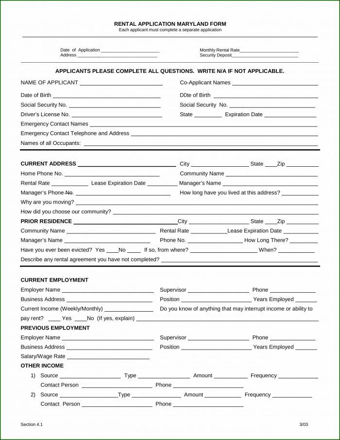 Maryland Rental Application Form