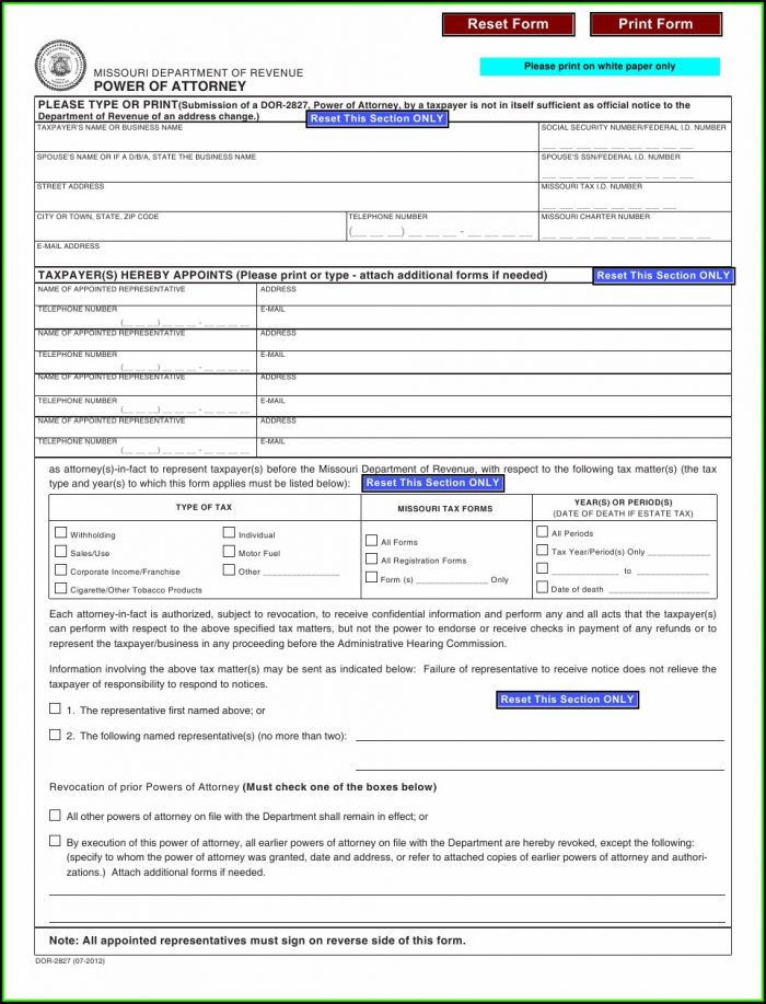 Missouri Power Of Attorney Form 2827