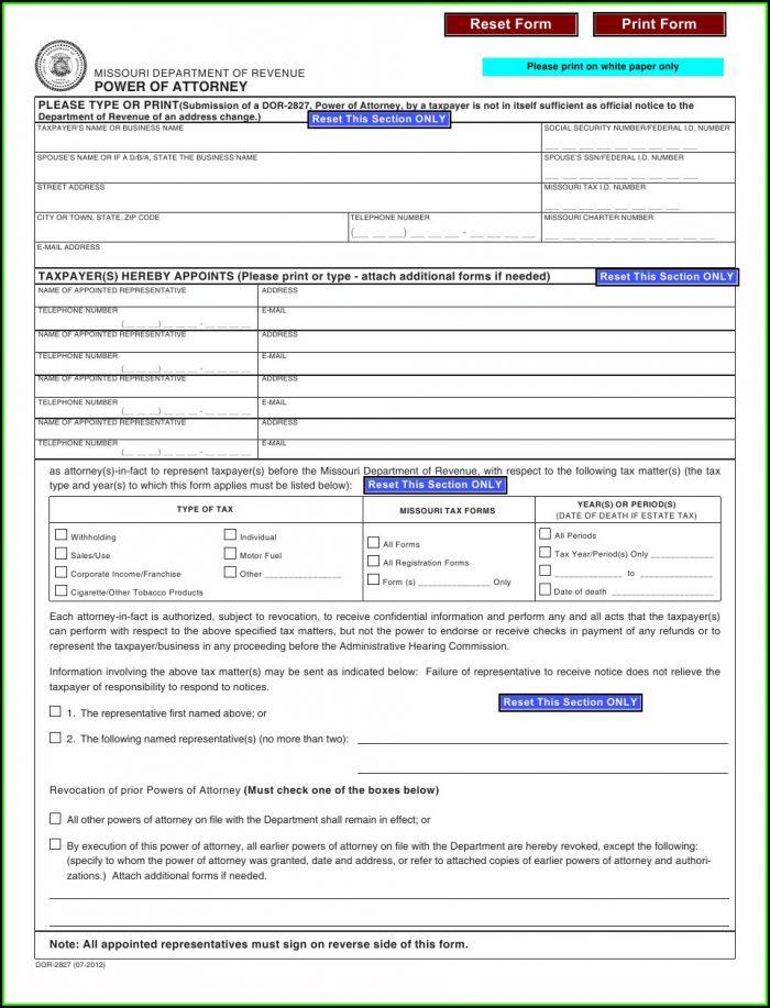Missouri Power Of Attorney Form 2827