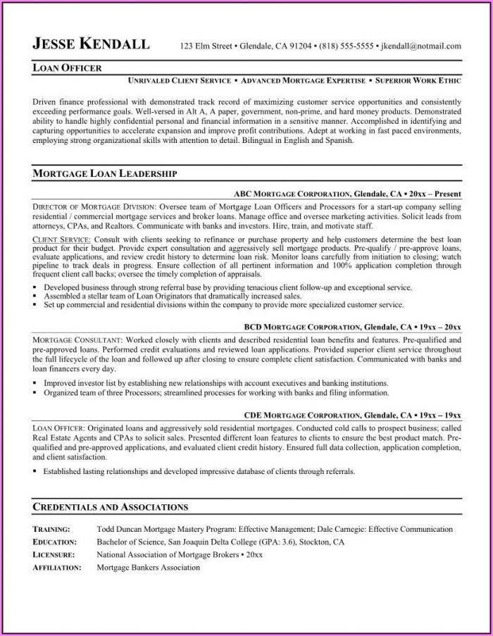 Mortgage Servicing Resume Sample