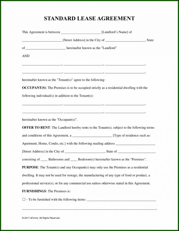 Nevada Rental Lease Agreement Form