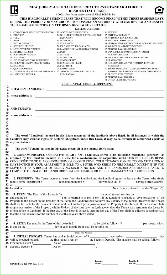 New Jersey Association Of Realtors Standard Form Of Residential Lease 2018