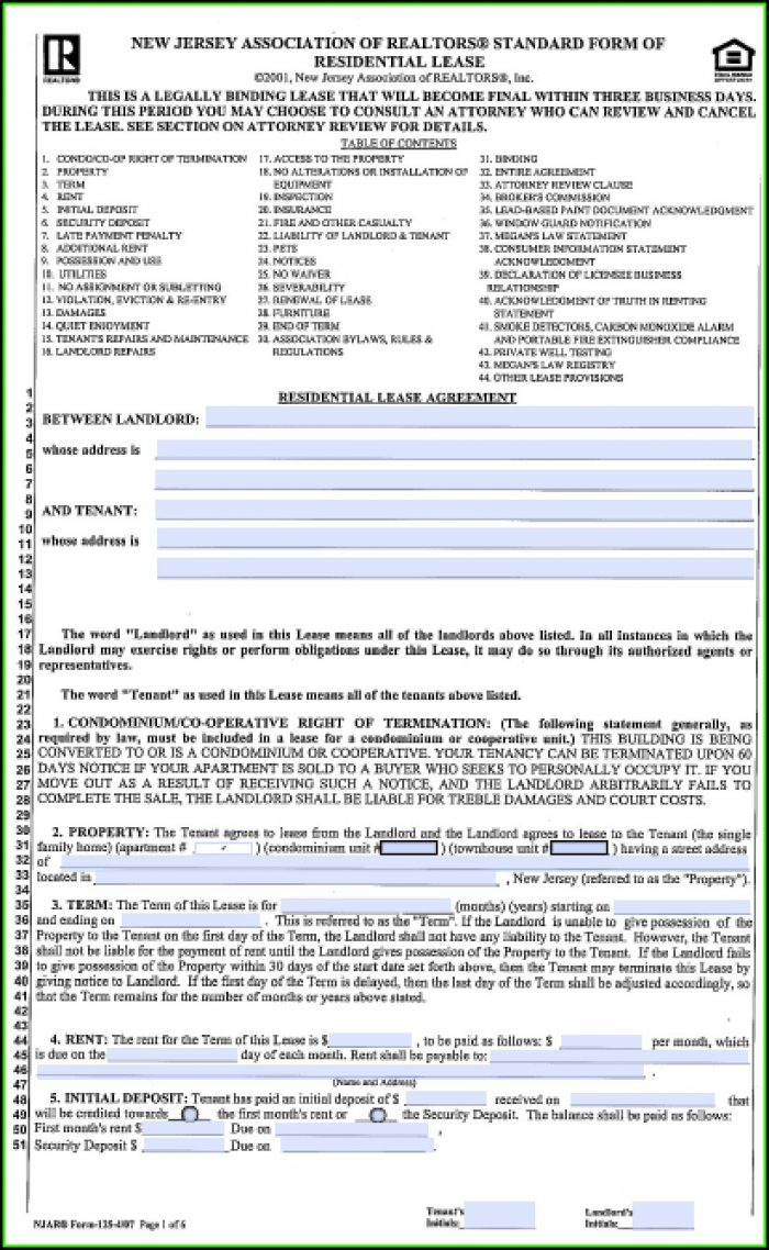 New Jersey Association Of Realtors Standard Form Of Residential Lease 2019