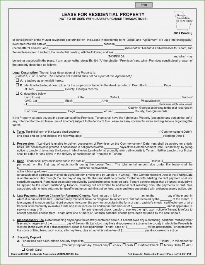 New Jersey Association Standard Form Of Residential Lease