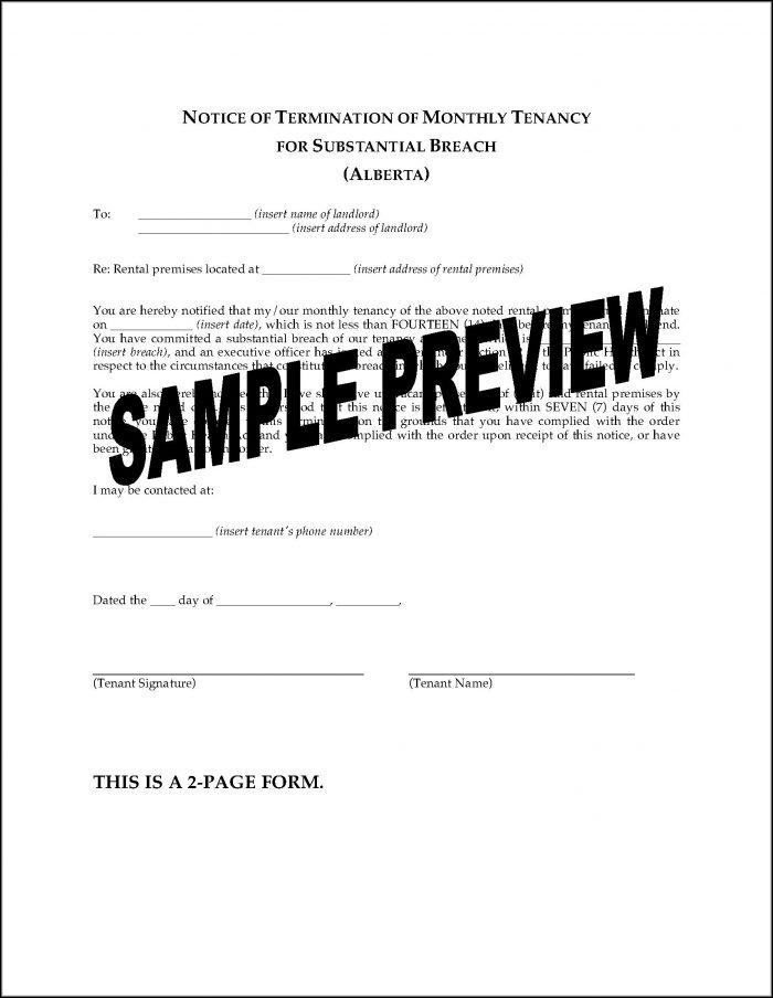 Notice To Terminate Tenancy Alberta Form
