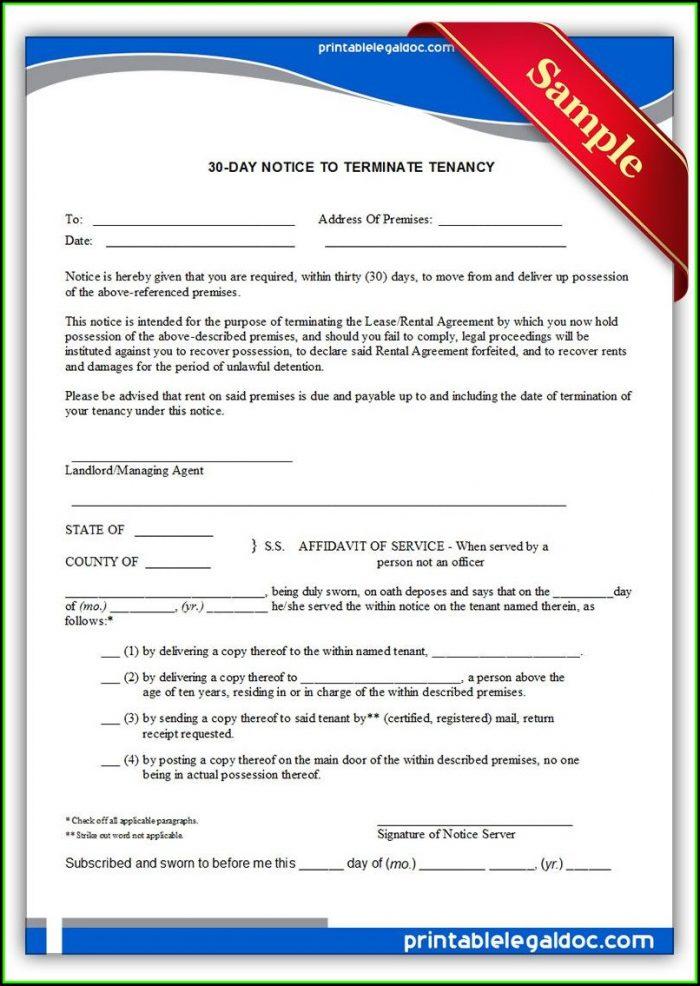 Notice To Terminate Tenancy Form