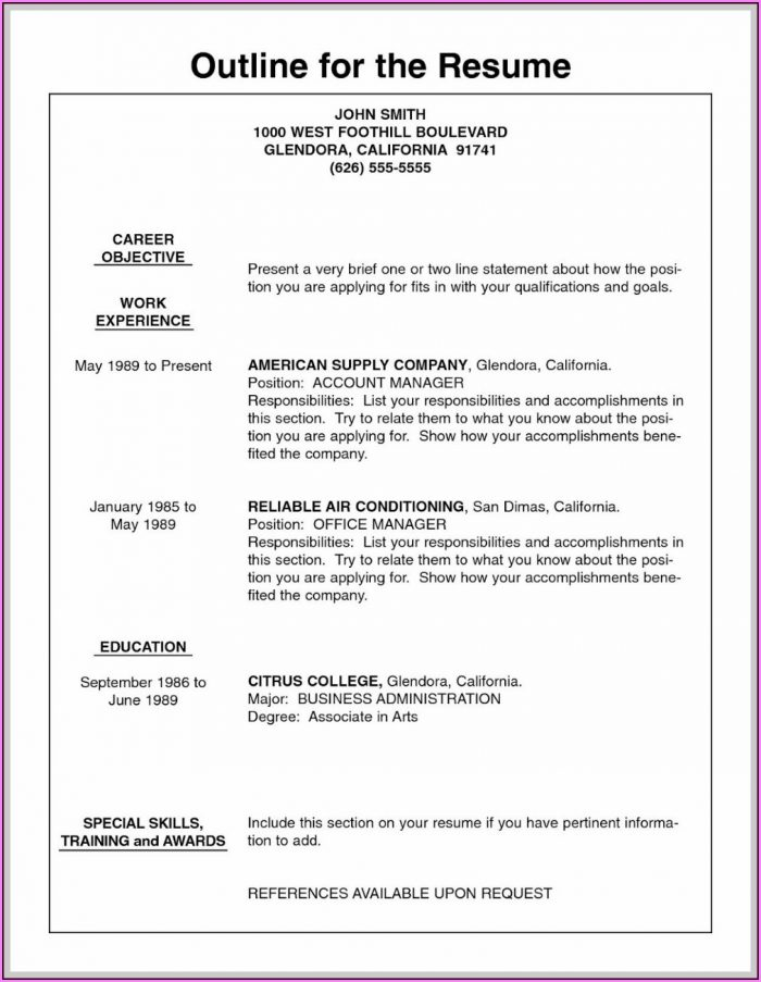 Outlines Of Resumes For Jobs