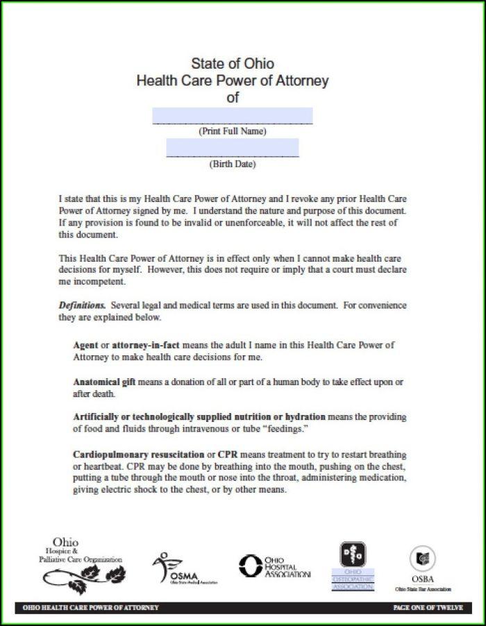 Printable Power Of Attorney Form Ohio