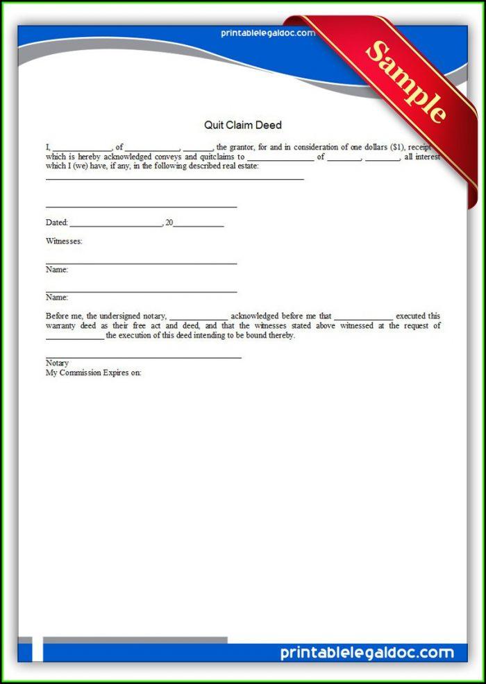 Printable Quit Claim Deed Form