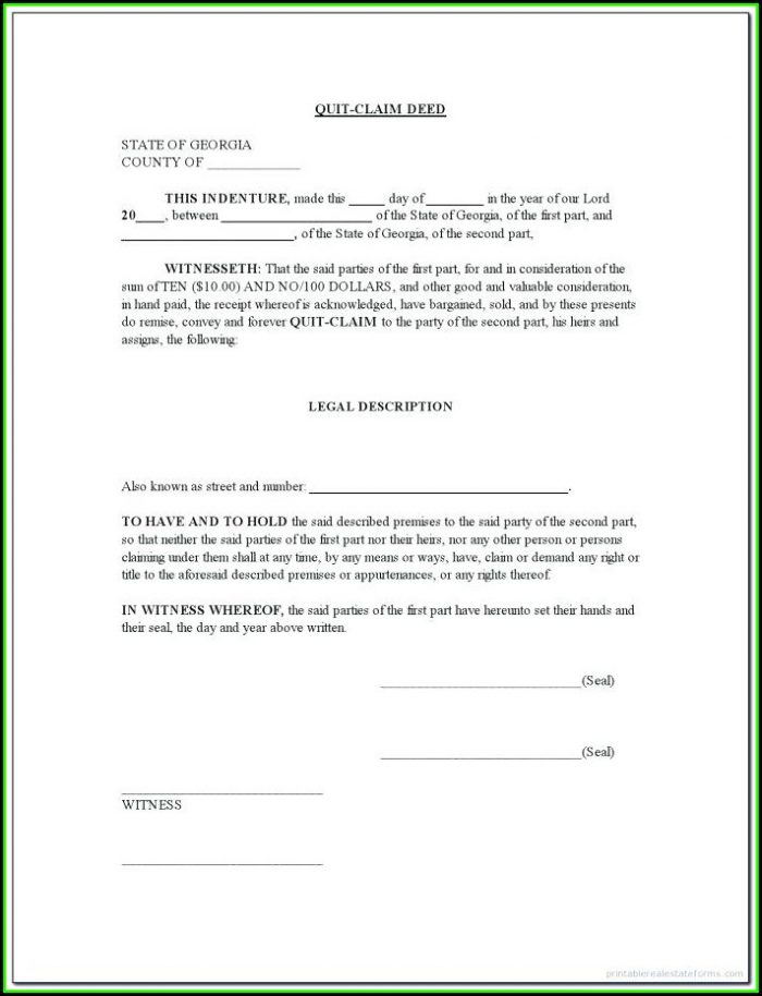 Printable Quit Claim Deed Form Florida