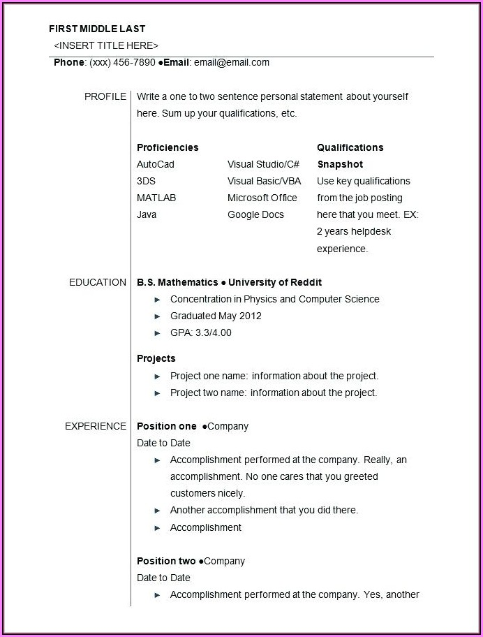 Printable Resume Templates For Highschool Students