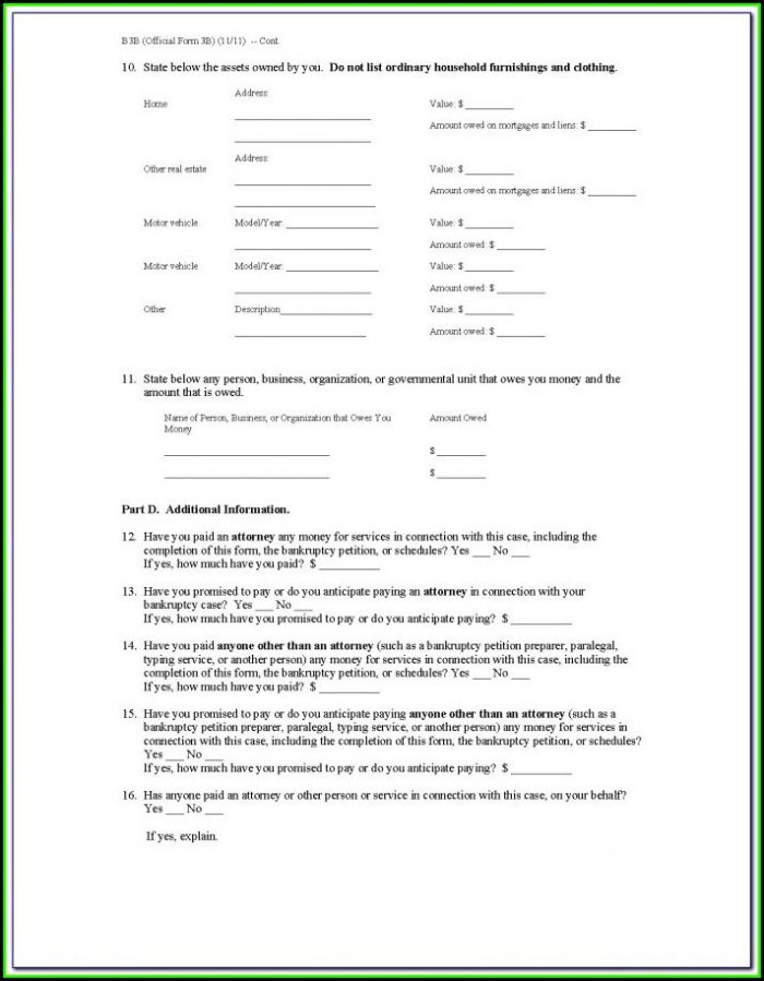 Pro Se Bankruptcy Forms
