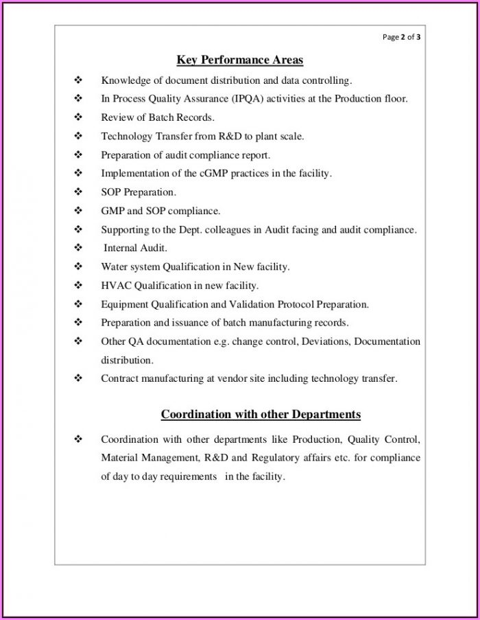 Qa Manager Resume Template