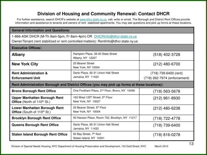 Rent Stabilized Lease Form Pdf