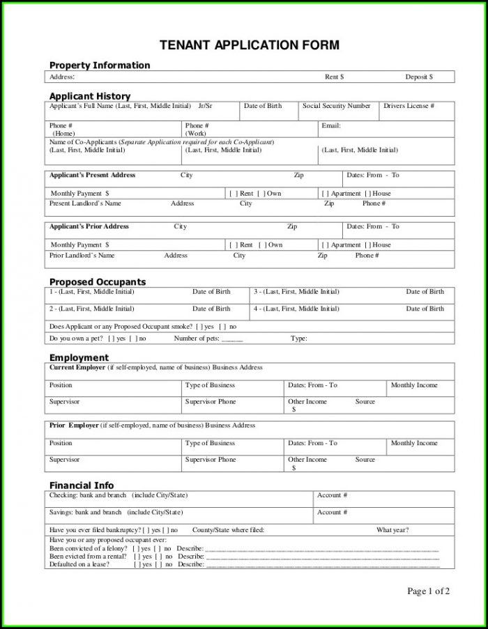 Renters Background Check Application Form