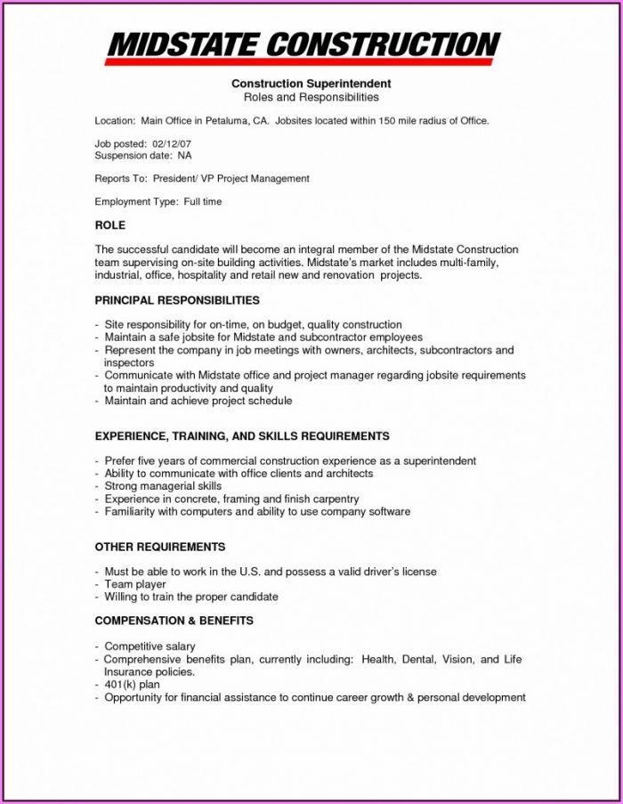 Resume Builder Construction Manager