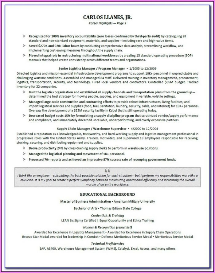 Resume Examples For Executives