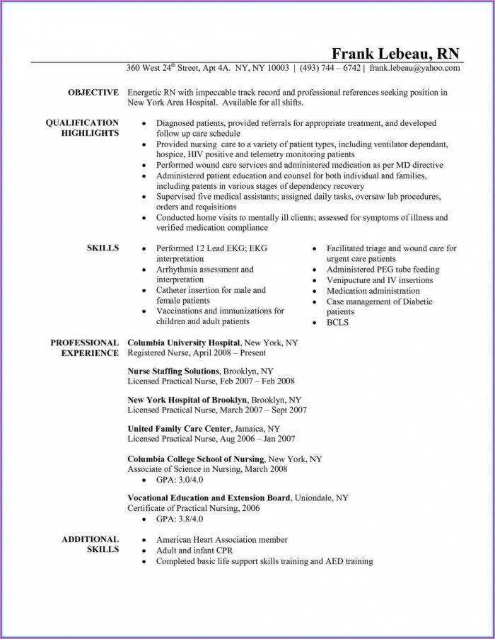 Resume Examples For Registered Nurse