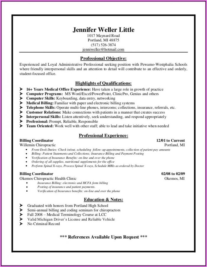 Resume For Medical Billing And Collections