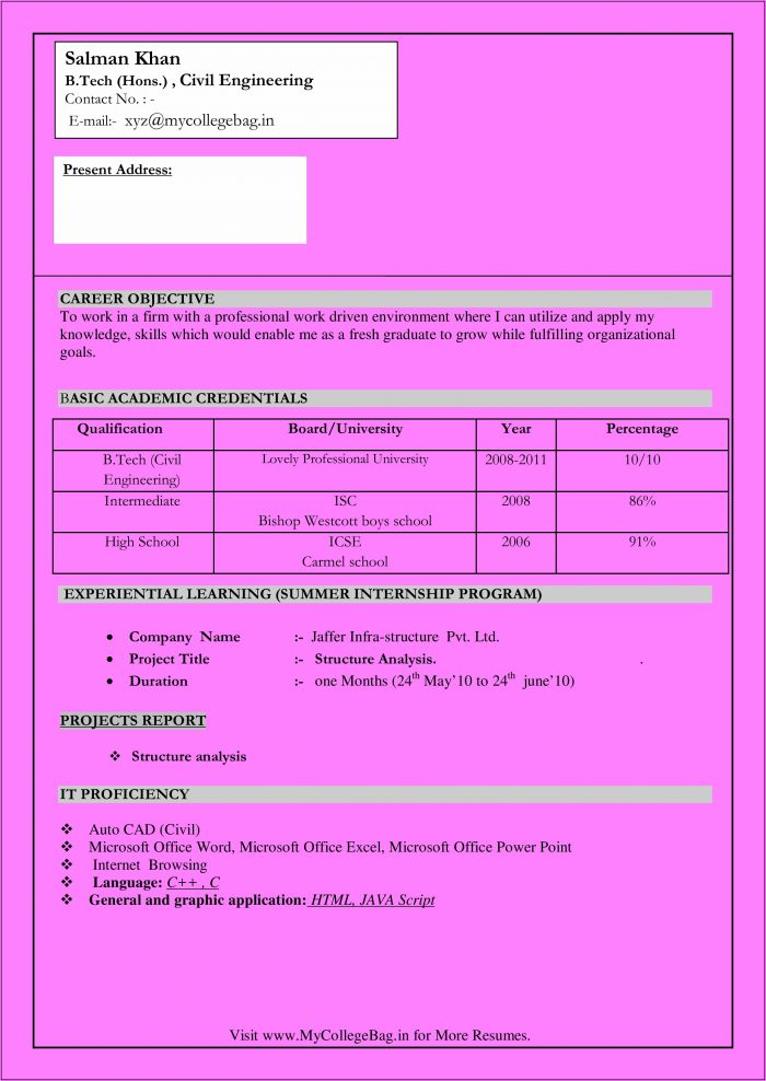 Resume Format Download In Ms Word For Fresher Civil Engineer