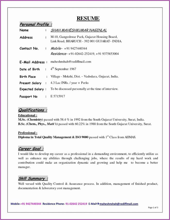 Resume Format Download In Ms Word For Fresher Mechanical Engineer