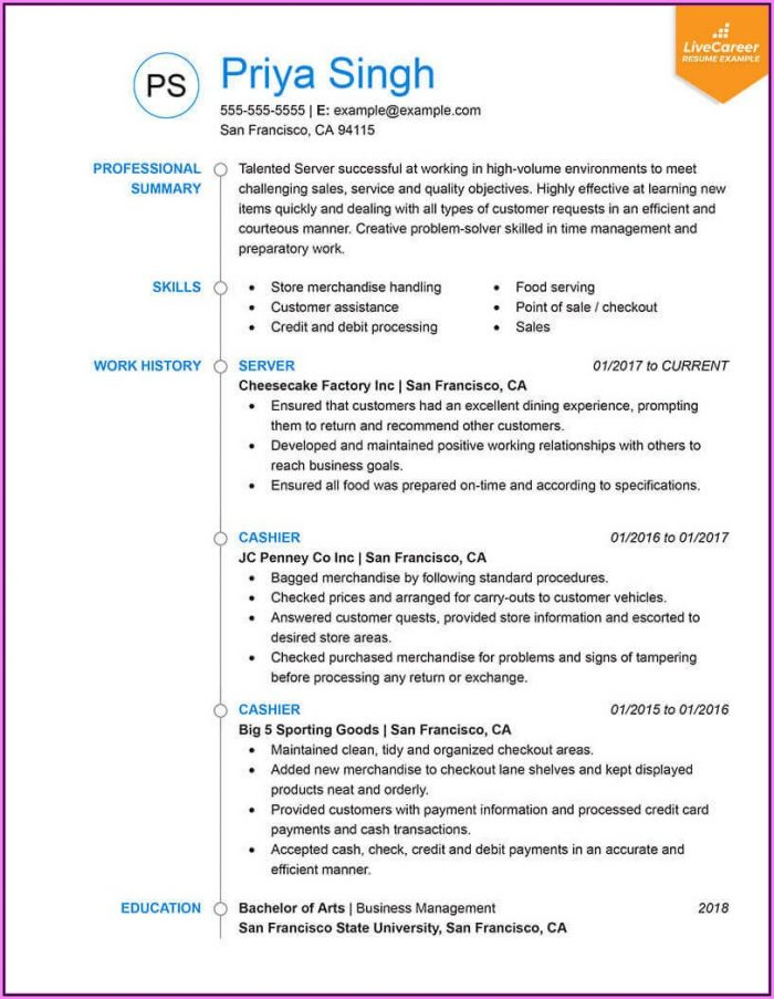Resume Format Examples 2018