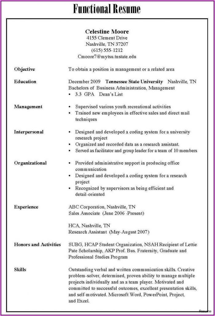 Resume Format Examples For Freshers