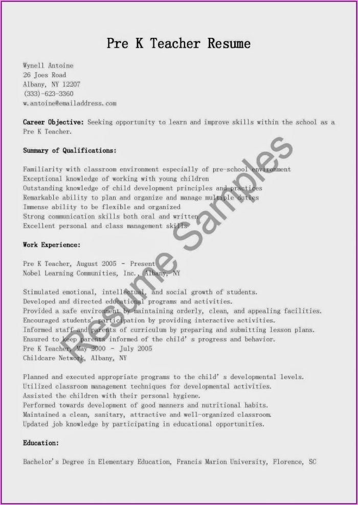 Resume Format Examples For Teachers