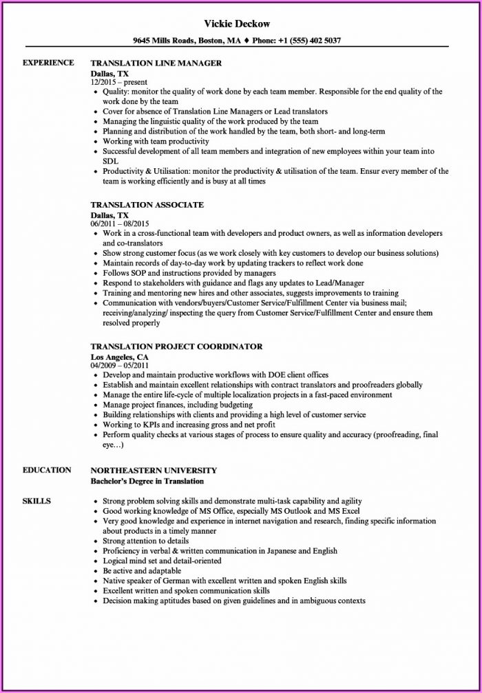 Resume Format For Japanese Translator