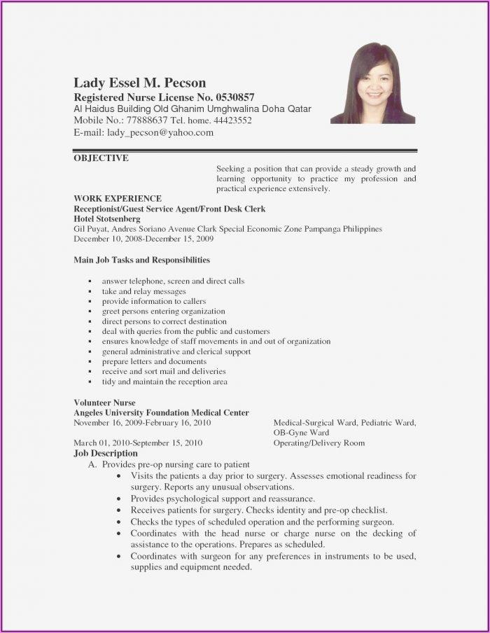 Resume Format For Nurses Pdf