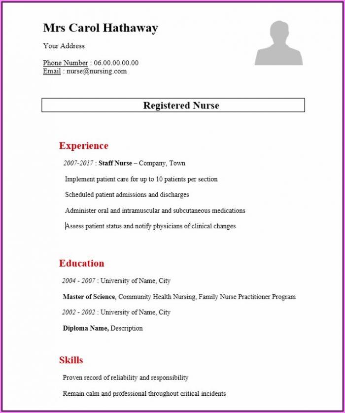 Resume Format For Nurses Word File