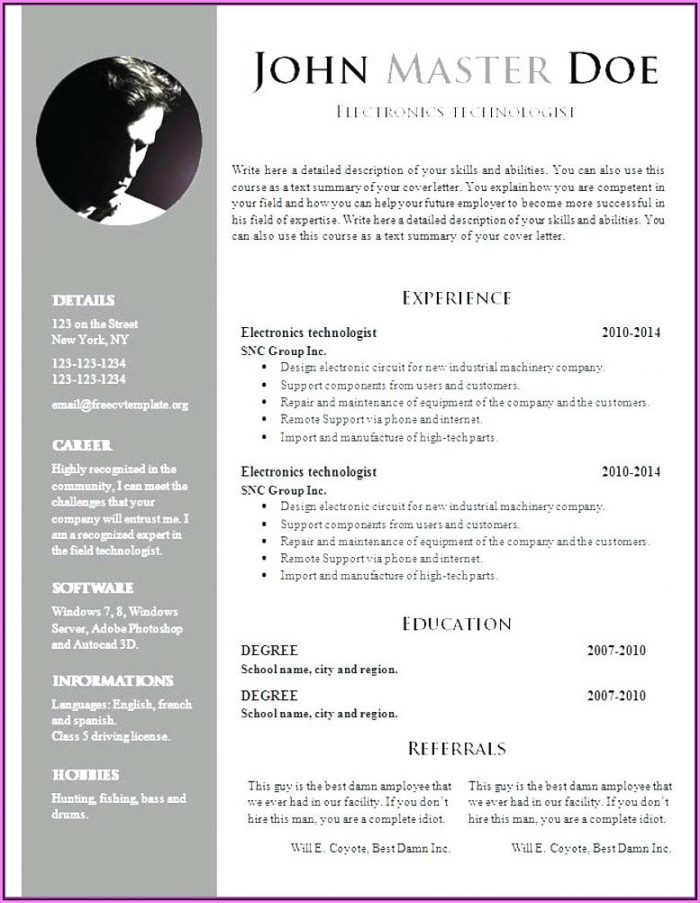 Resume Format For Teachers In Word Format Download Free