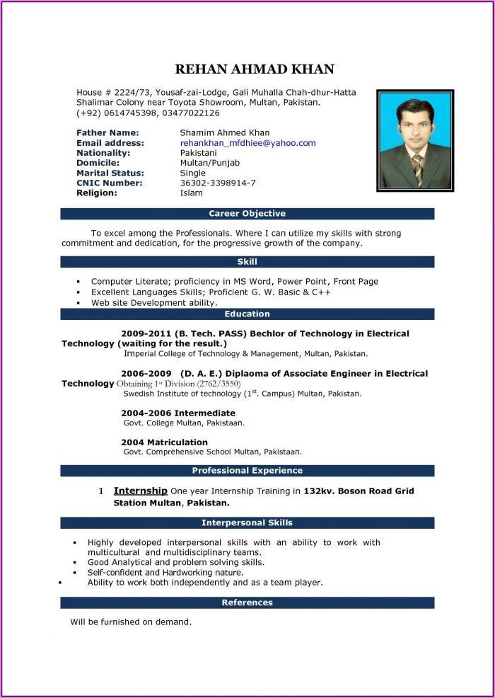 Resume Format Free Download Word