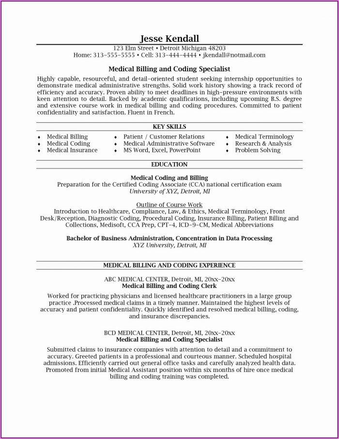 Resume Medical Billing Specialist