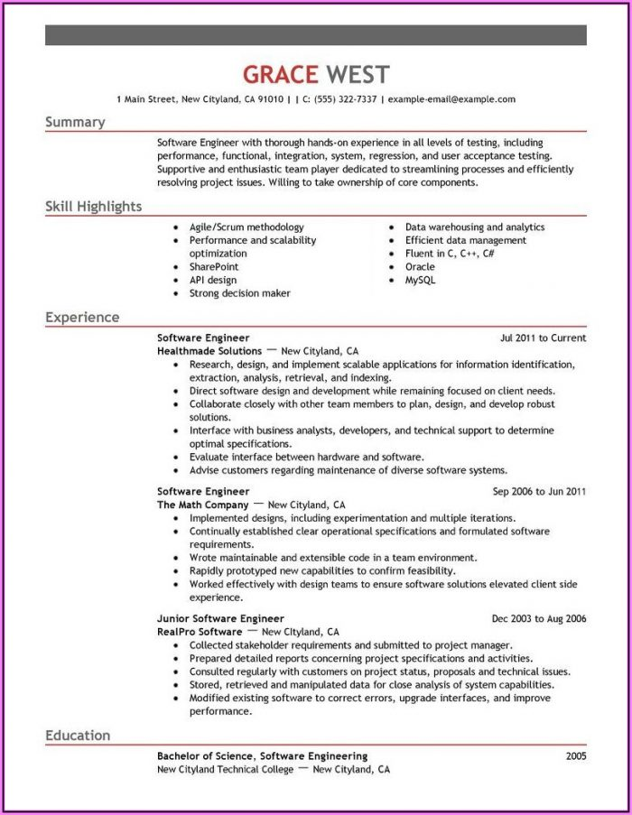 Resume Template Software Engineer
