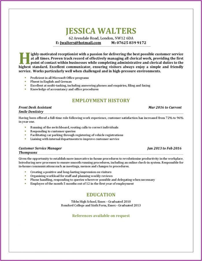 Resume Templates For Front Desk Receptionist