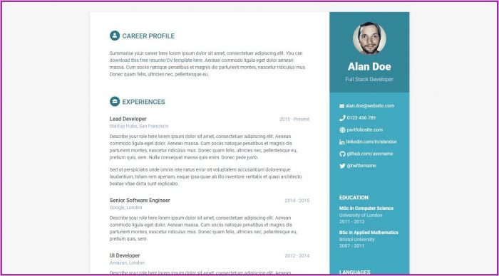 Resume Website Templates Free Download