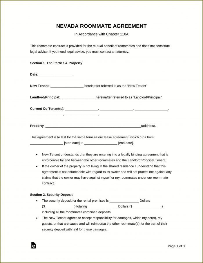 Room Rental Agreement Form Nevada