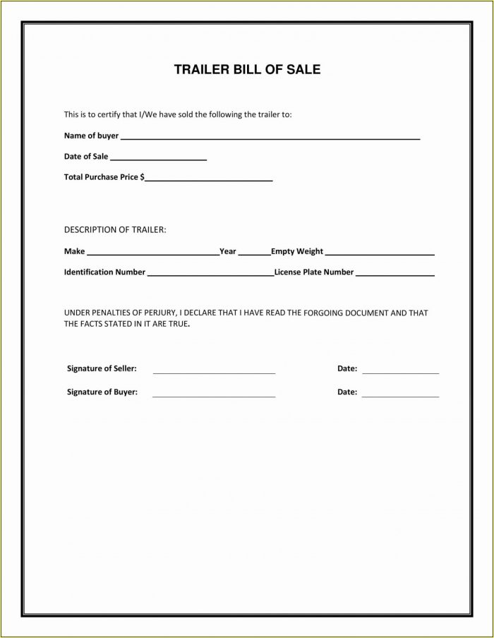 Simple Bill Of Sale Form Printable Free